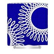Spirals With Blue Shower Curtain