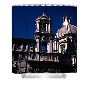 Spire And Cupola St Agnese In Agone Piazza Navona Rome Italy Shower Curtain