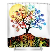 Spiritual Art - Tree Of Life Shower Curtain by Sharon Cummings