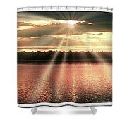 Spiritual Sunset Above A Mountain Lake Shower Curtain