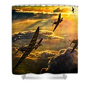 Spitfire Attack Shower Curtain by Chris Lord