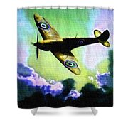 Spitfire In The Clouds H B Shower Curtain