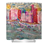 Splash Of Happy On A Hot City Day Shower Curtain