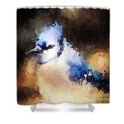Splatter Art - Blue Jay Shower Curtain