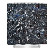 Splattered - Grey Shower Curtain