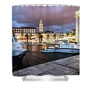 Split Harbor Night View In Croatia Shower Curtain