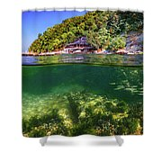 Split Level Reef And Trees With Pier Shower Curtain