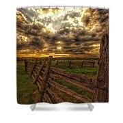 Split Rail Cedar Fence Sunset Shower Curtain