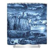 Split Rock Lighthouse Blue Shower Curtain
