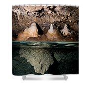 Split Shot Of Stalactites Shower Curtain by Mathieu Meur