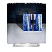 Split Square Blue Shower Curtain
