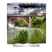 Spokane Falls And Monroe Bridge Shower Curtain