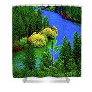 Spokane River Blues Shower Curtain