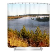 Spokane River Under A Misty Morning Blanket Shower Curtain
