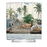 Sponge Fisherman In The Bahama Shower Curtain by Winslow Homer