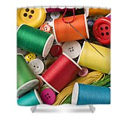 Spools Of Thread With Buttons Shower Curtain