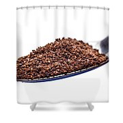 Spoon Of Ground Coffee On White Shower Curtain