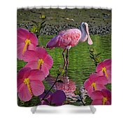 Spoonbill Through The Flowers Shower Curtain