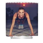Sportive Woman Doing Pushups Outdoors Shower Curtain