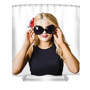 Spray Tan Girl Wearing Goggles. Tanning Beauty Shower Curtain