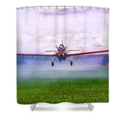 Spraying The Fields - Crop Duster - Aviation Shower Curtain