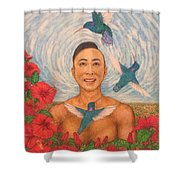Spring Amazed By The Hummingbirds Shower Curtain
