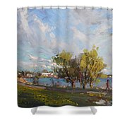 Spring At Gratwick Waterfront Park Shower Curtain