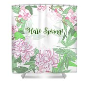 Spring  Background  With Pink Peonies And Flowers.  Shower Curtain