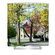 Spring Begins In The Suburbs Shower Curtain