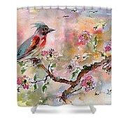 Spring Bird Fantasy Watercolor  Shower Curtain
