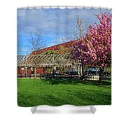 Spring Bloom At Christopher Columbus Park Boston Ma Cherry Blossoms Shower Curtain