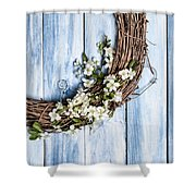 Spring Blossom Wreath Shower Curtain