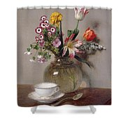 Spring Bouquet Shower Curtain by Ignace Henri Jean Fantin-Latour