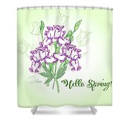 Spring Bouquet  With Three Irises.  Shower Curtain