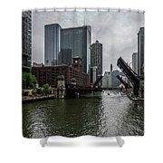Spring Bridge Lift Scene In Chicago  Shower Curtain