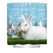 Spring Bunny Loves His Carrots Shower Curtain