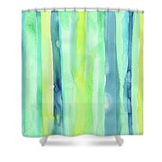 Spring Colors Stripes Pattern Vertical Shower Curtain