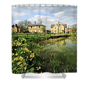 Spring Daffodils, Ramsey Village Pond, Cambridgeshire, England Shower Curtain