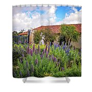 Spring Flowers In The Carmel Mission Garden Shower Curtain