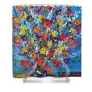 Spring Has Sprung- Abstract Floral Art- Still Life Shower Curtain