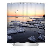 Spring Ice Breakup Shower Curtain