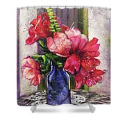 Spring In A Blue Bottle Shower Curtain