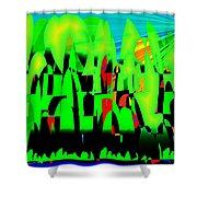 Spring In Digital Forest Shower Curtain