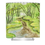 Spring Landscape, Watercolours Shower Curtain