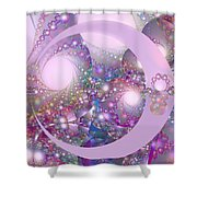 Spring Moon Bubble Fractal Shower Curtain