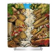 Spring Mountain Waterfall Shower Curtain