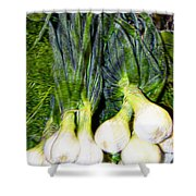 Spring Onions Shower Curtain