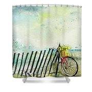 Bicycle Ride. Mayflower Storm. Shower Curtain