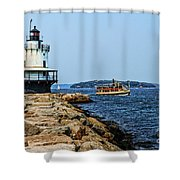 Spring Point Ladge Lighthouse - Maine Shower Curtain