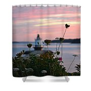Pink Sky Flowers Shower Curtain